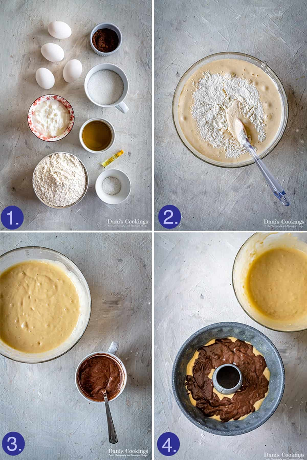 ingredients and 3 steps to make the bundt cake