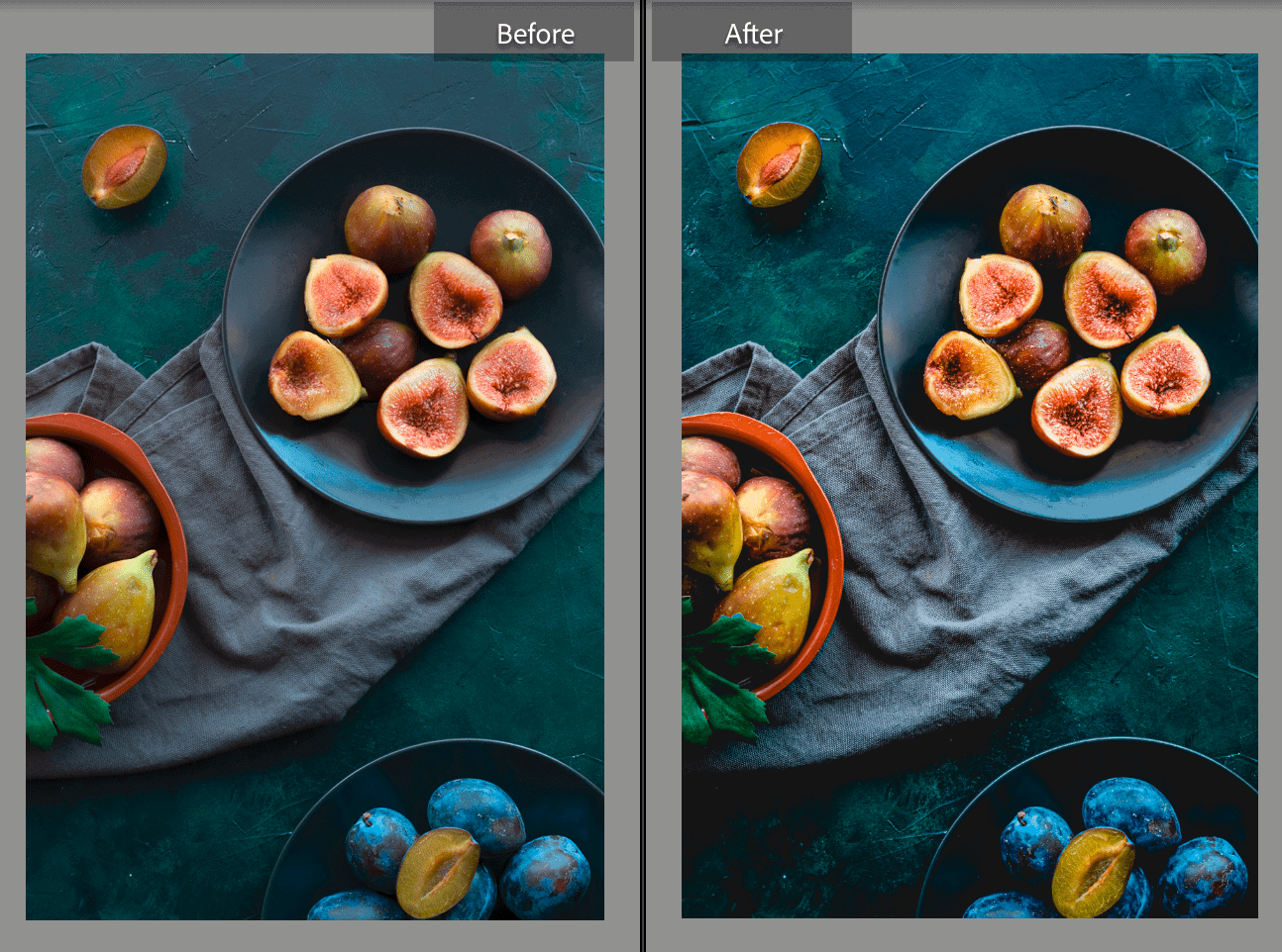 two photos before and after of figs on a green background