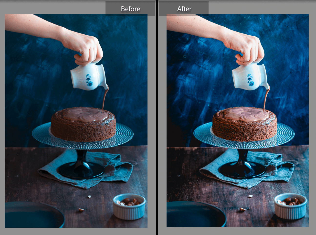two photos of a woman pouring chocolate on a cake