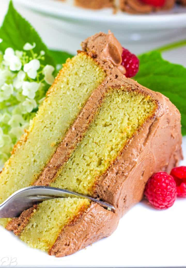a layer cake with a fork